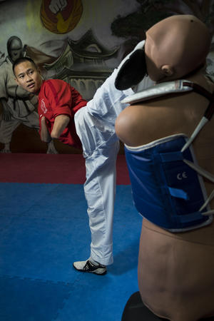 8 November 2016 - Taekwondo champion, Bopha Kong. Photo taken in CKF dojo in Bondy, France.