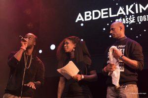 Youssoupha avec des membres de la famille d'Adama Traoré lors du concert en leur soutien, à La Cigale, Jeudi 2 Février 2017.